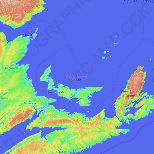 Prince Edward Island topographic map, relief map, elevations map
