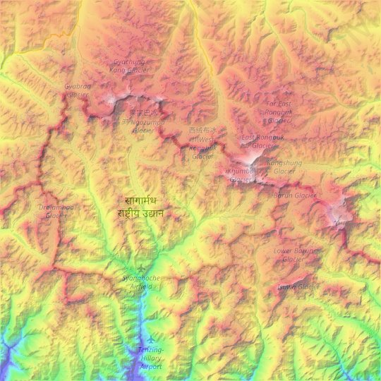 Khumjung topographic map, elevation, relief