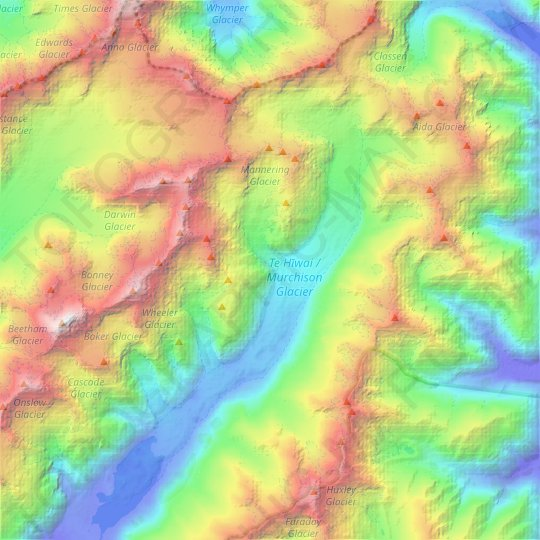 Te Hīwai / Murchison Glacier topographic map, relief map, elevations map