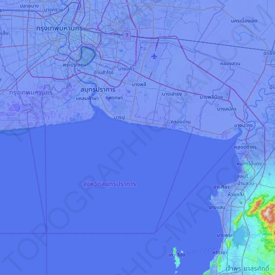 Samut Prakan Province topographic map, relief map, elevations map