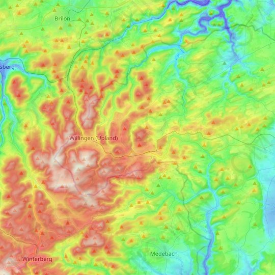 Willingen (Upland) topographic map, relief map, elevations map