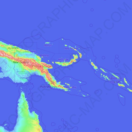 Papua New Guinea topographic map, relief map, elevations map
