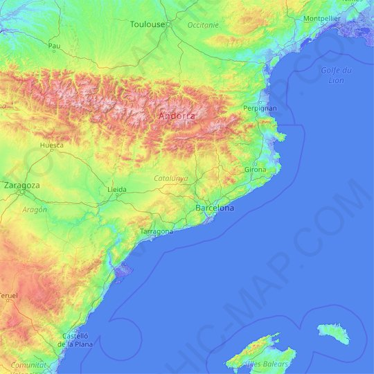 Catalonia topographic map, relief map, elevations map
