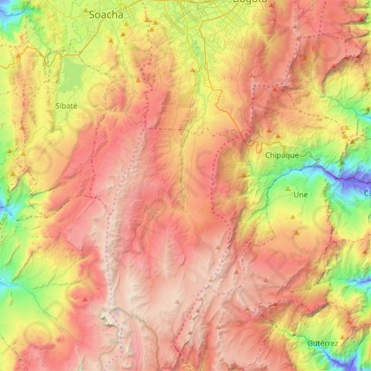 Usme topographic map, elevation, relief