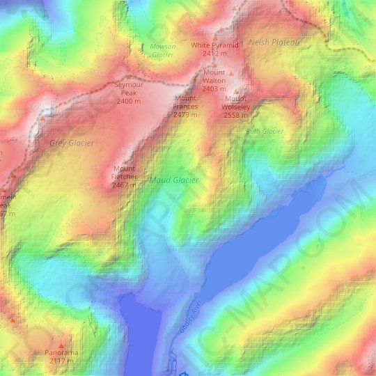 Maud Glacier topographic map, relief map, elevations map