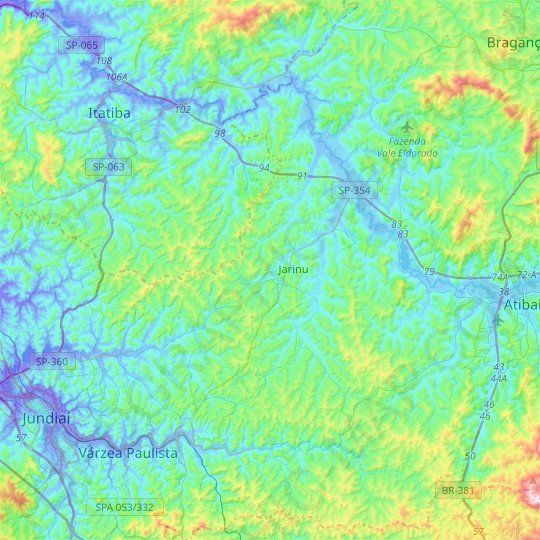 Jarinu topographic map, relief map, elevations map