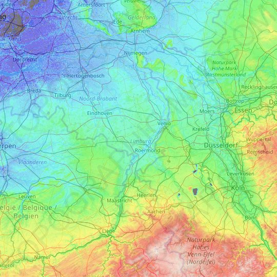 Limburg topographic map, relief map, elevations map