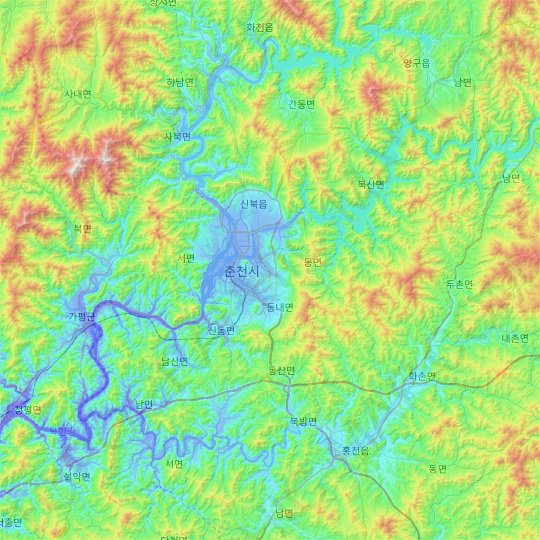 Chuncheon-si topographic map, relief map, elevations map
