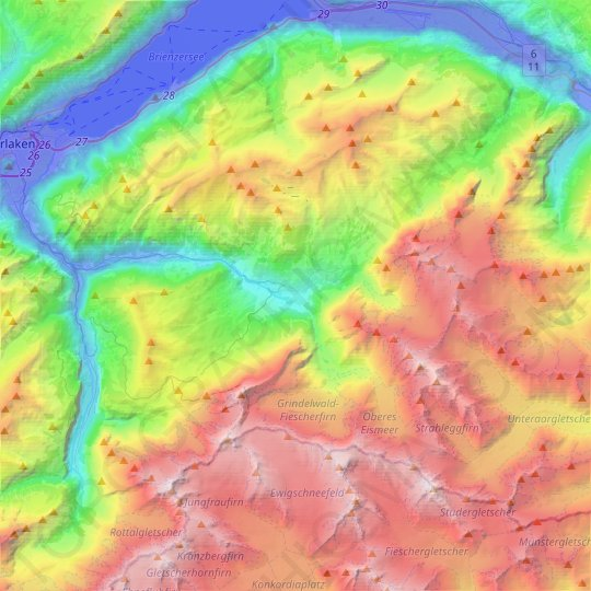 Grindelwald topographic map, elevation, relief