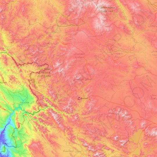 Kurdistan Province topographic map, relief map, elevations map