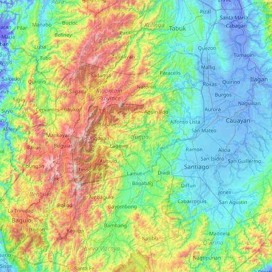 Ifugao topographic map, relief map, elevations map