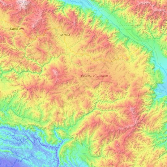Eastern Highlands topographic map, relief map, elevations map