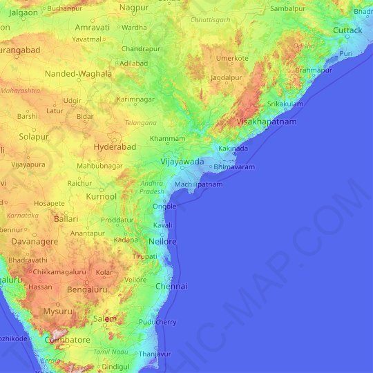 Andhra Pradesh topographic map, elevation, relief