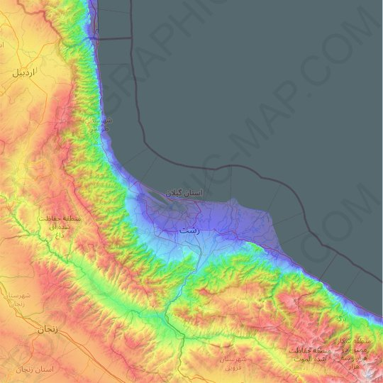Gilan Province topographic map, relief map, elevations map