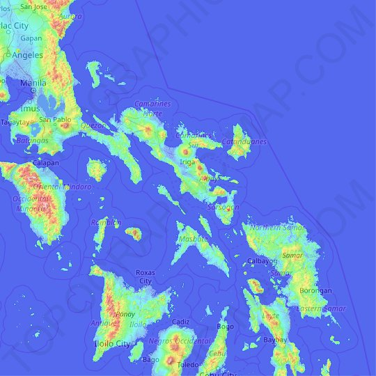 Bicol Region topographic map, relief map, elevations map