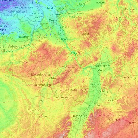 Rhineland-Palatinate topographic map, elevation, relief
