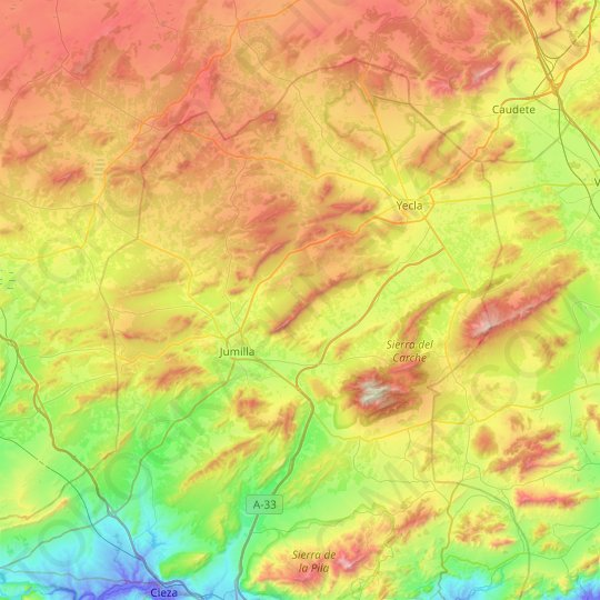 Altiplano topographic map, relief map, elevations map