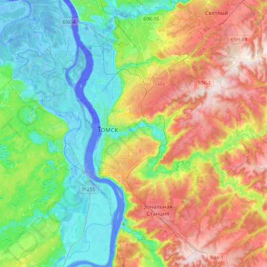 Tomsk topographic map, relief map, elevations map