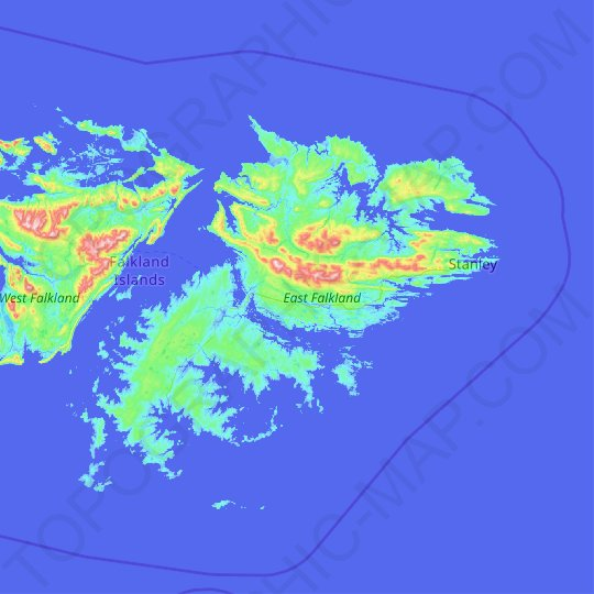 East Falkland topographic map, relief map, elevations map