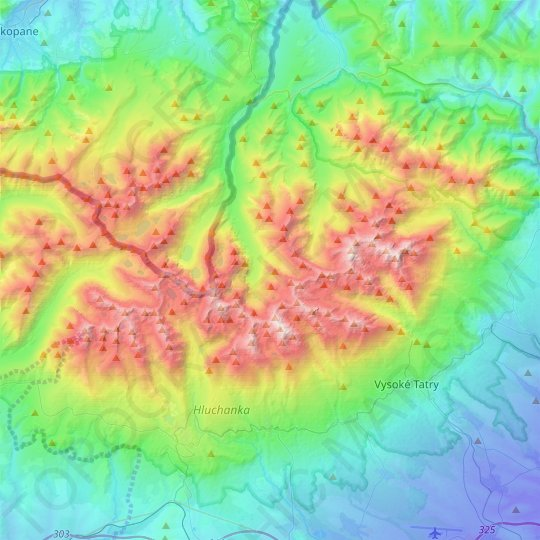 High Tatras topographic map, elevation, relief