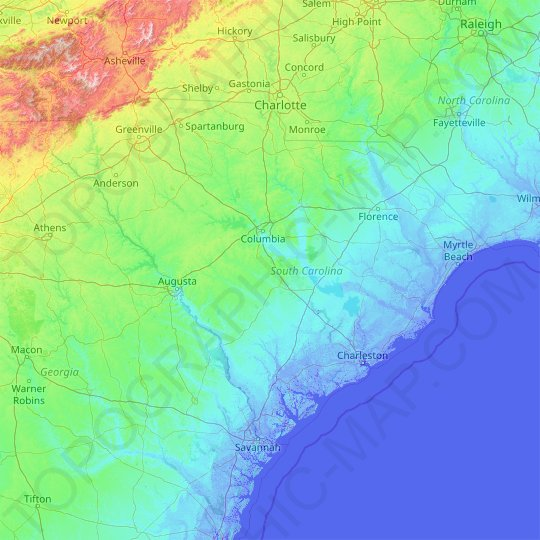 South Carolina topographic map, elevation, relief