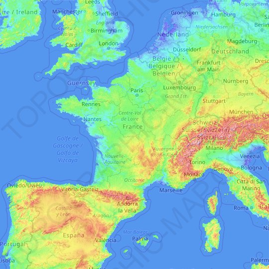Metropolitan France topographic map, relief map, elevations map