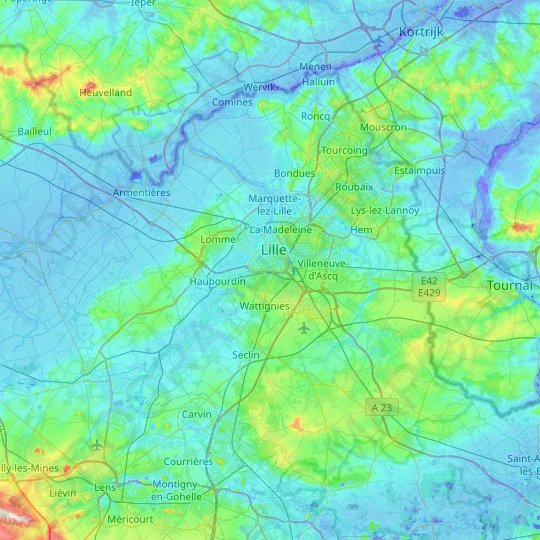 Lille topographic map, relief map, elevations map