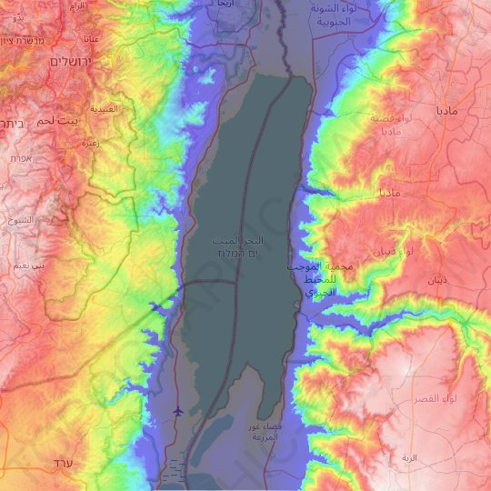Dead Sea topographic map, relief map, elevations map