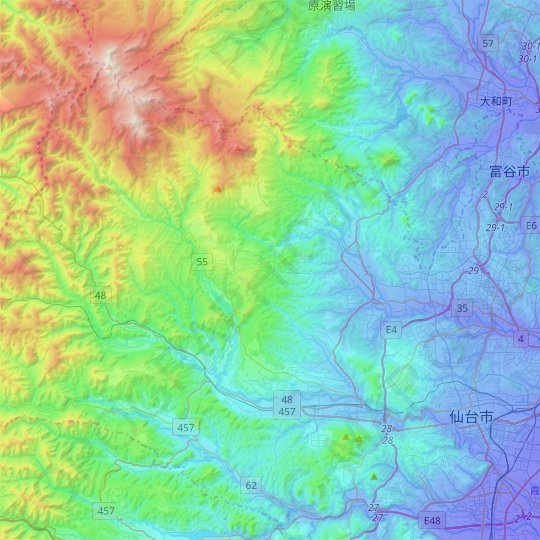 Sendai topographic map, relief map, elevations map
