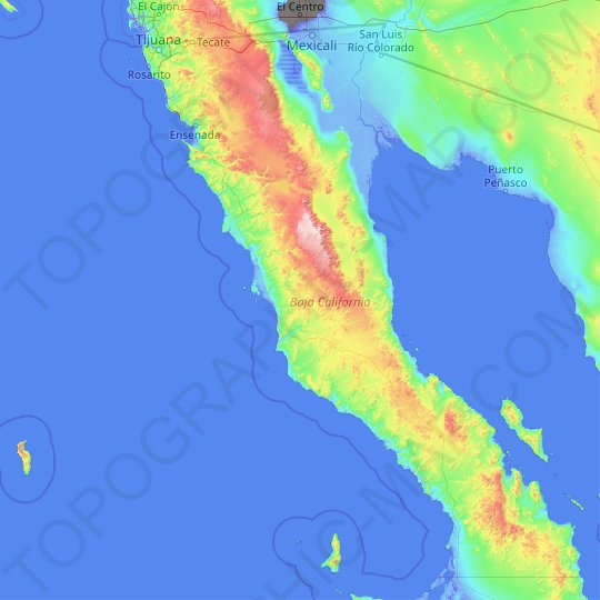 Baja California topographic map, relief map, elevations map