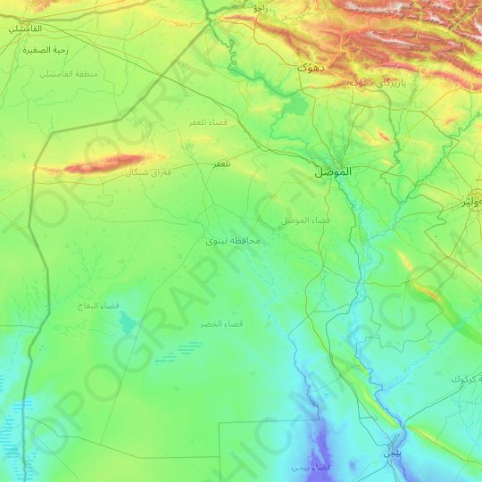 Nineveh topographic map, relief map, elevations map