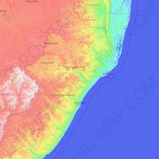 KwaZulu-Natal topographic map, relief map, elevations map