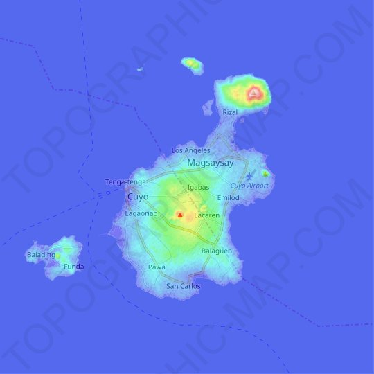 Cuyo Island topographic map, relief map, elevations map