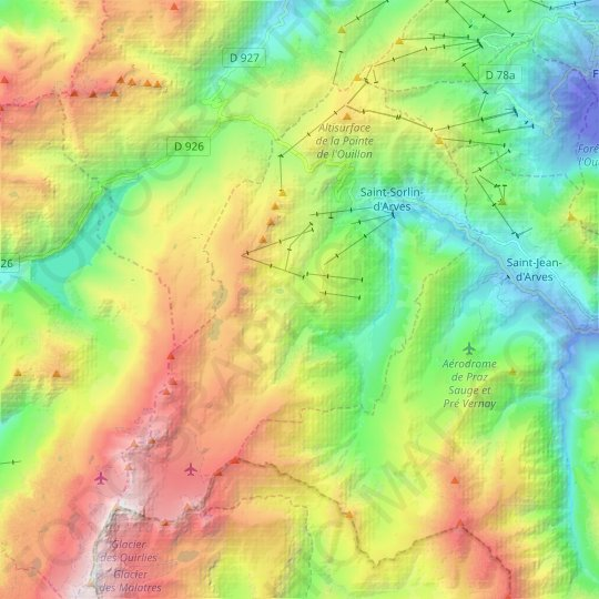 Saint-Sorlin-d'Arves topographic map, elevation, relief