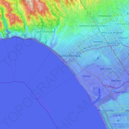 Santa Monica topographic map, elevation, relief