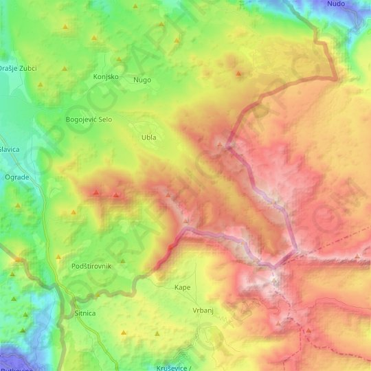 Ubla topographic map, elevation, relief