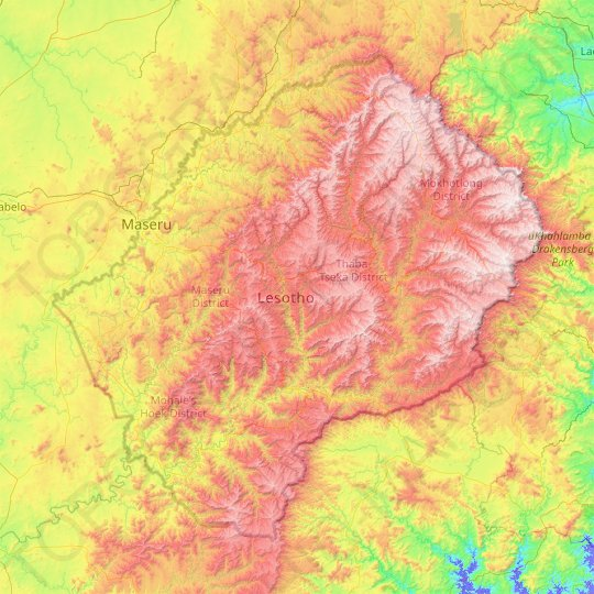 Lesotho topographic map, relief map, elevations map