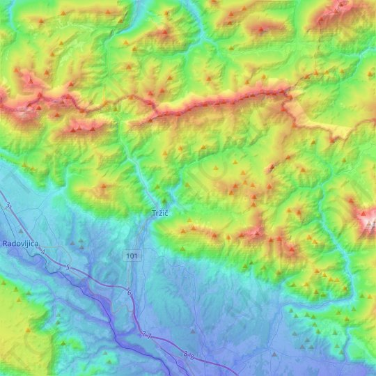 Tržič topographic map, elevation, relief