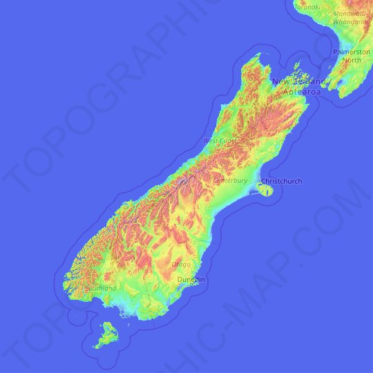 South Island topographic map, relief map, elevations map