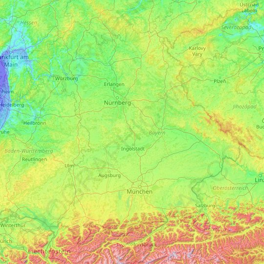 Bavaria topographic map, relief map, elevations map