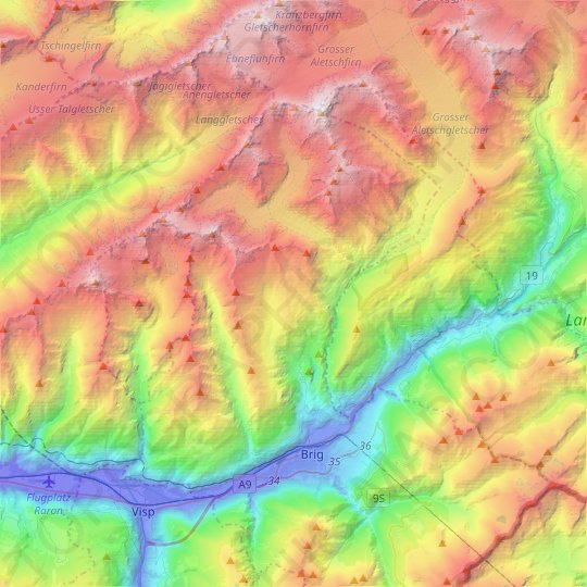 Naters topographic map, elevation, relief