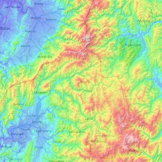 Tineg topographic map, elevation, relief