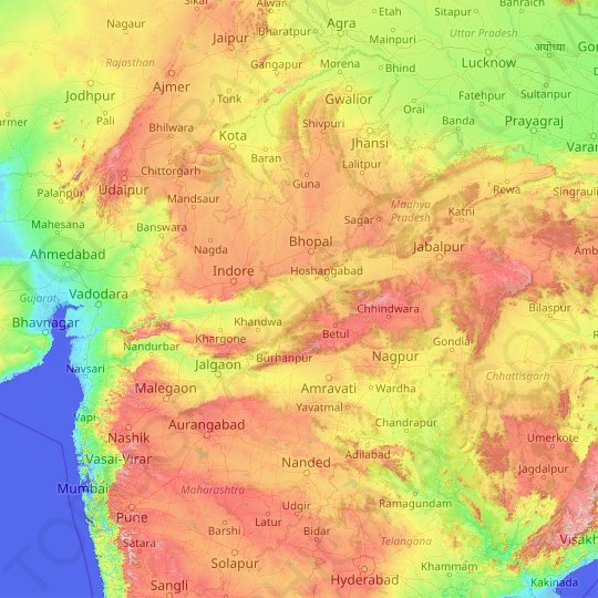 Narmada topographic map, relief map, elevations map