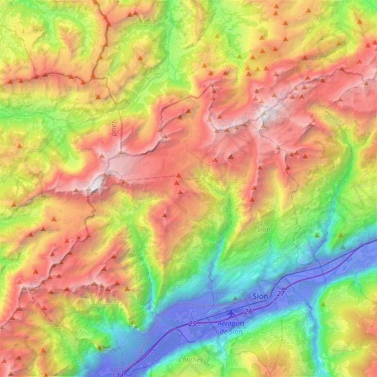 Savièse topographic map, elevation, relief