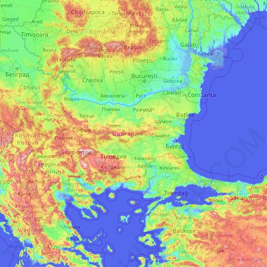 Bulgaria topographic map, relief map, elevations map