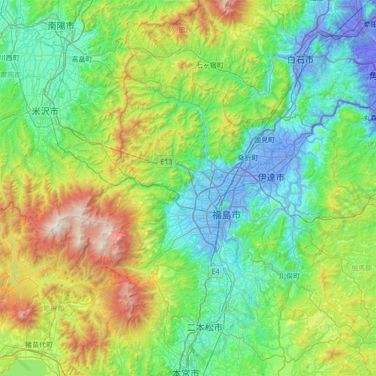 Fukushima topographic map, relief map, elevations map