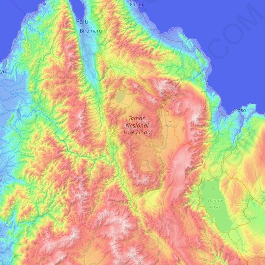 Lore Lindu National Park topographic map, relief map, elevations map