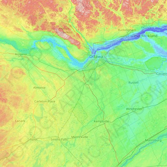 Ottawa topographic map, elevation, relief