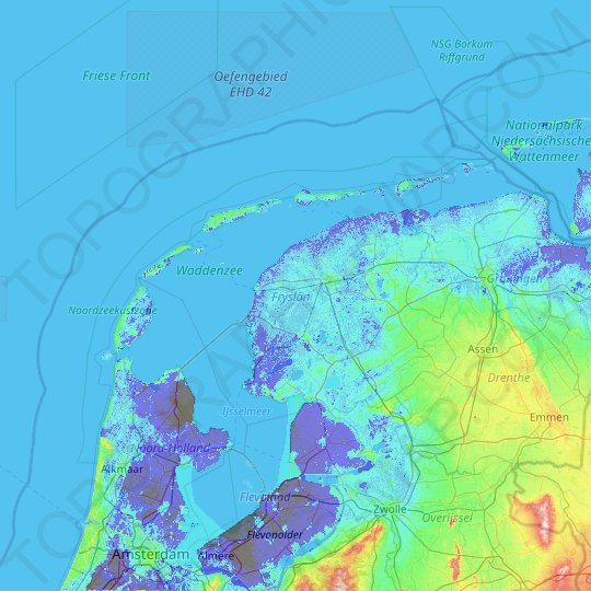 Friesland topographic map, relief map, elevations map