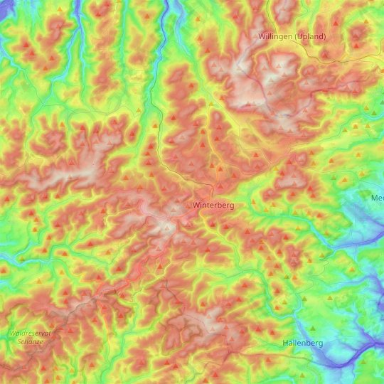 Winterberg topographic map, relief map, elevations map